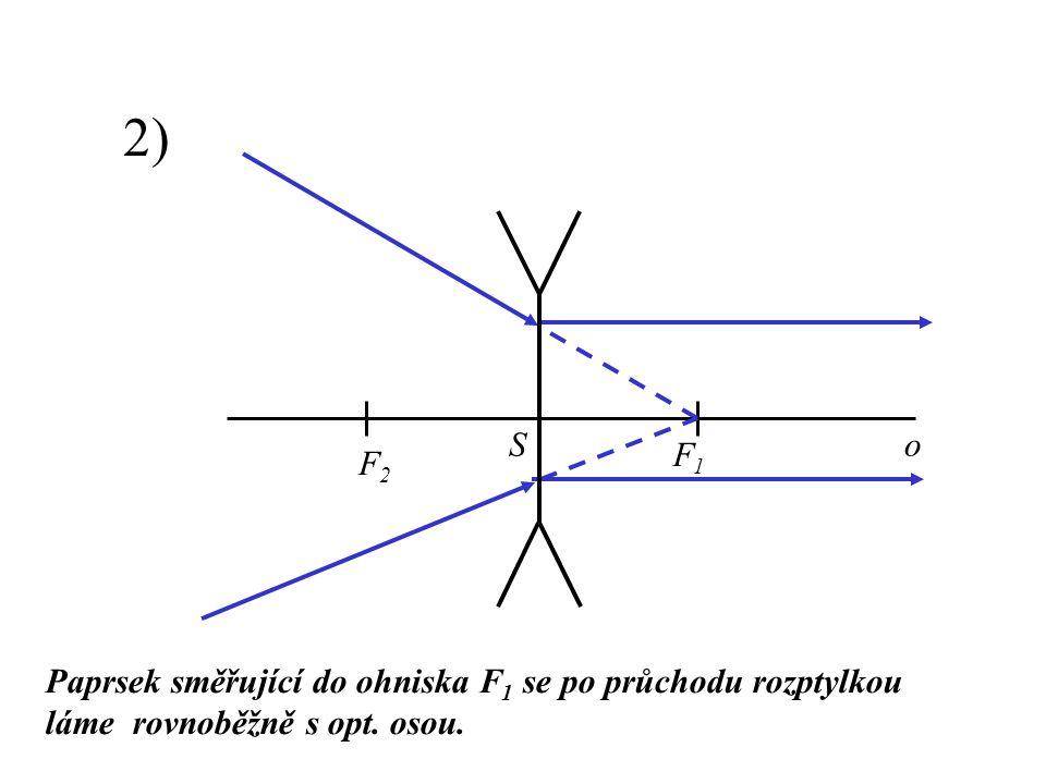 2) Paprsek směřující do ohniska F1 F1 se po průchodu rozptylkou láme rovnoběžně s opt. osou. F2F2 F1F1 oS