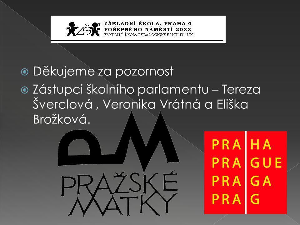  Děkujeme za pozornost  Zástupci školního parlamentu – Tereza Šverclová, Veronika Vrátná a Eliška Brožková.