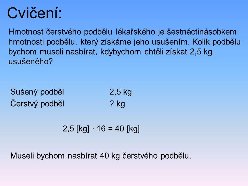 Cvičení: Sušený podběl 2,5 kg Čerstvý podběl? kg Hmotnost čerstvého podbělu lékařského je šestnáctinásobkem hmotnosti podbělu, který získáme jeho usuš