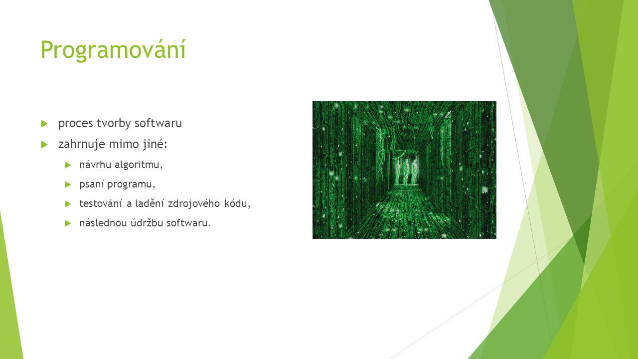 Programování  proces tvorby softwaru  zahrnuje mimo jiné:  návrhu algoritmu,  psaní programu,  testování a ladění zdrojového kódu,  následnou údržbu softwaru.
