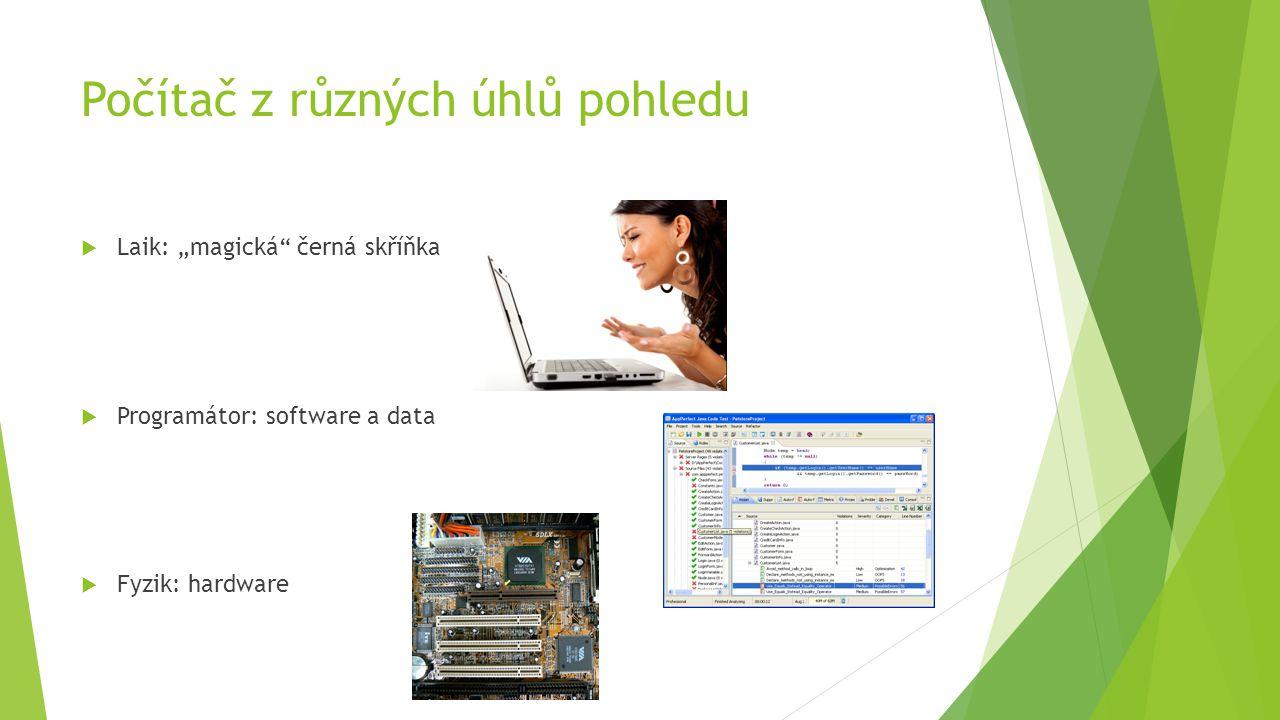 """Počítač z různých úhlů pohledu LLaik: """"magická černá skříňka PProgramátor: software a data FFyzik: hardware"""