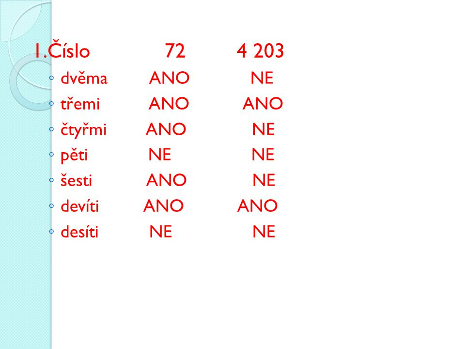 1.Číslo 72 4 203 ◦ dvěma ANO NE ◦ třemi ANO ANO ◦ čtyřmi ANO NE ◦ pěti NE NE ◦ šesti ANO NE ◦ devíti ANO ANO ◦ desíti NE NE