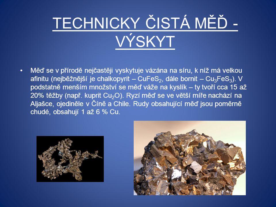 TECHNICKY ČISTÁ MĚĎ - VÝSKYT Měď se v přírodě nejčastěji vyskytuje vázána na síru, k níž má velkou afinitu (nejběžnější je chalkopyrit – CuFeS 2, dále