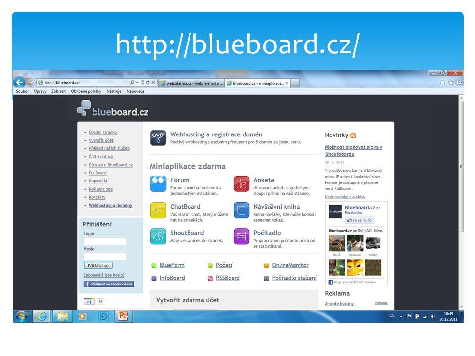 Blueboard - počítadla