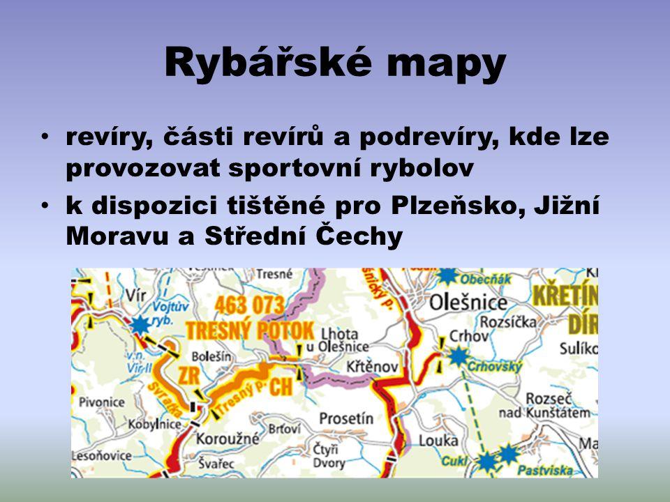 Rybářské mapy revíry, části revírů a podrevíry, kde lze provozovat sportovní rybolov k dispozici tištěné pro Plzeňsko, Jižní Moravu a Střední Čechy