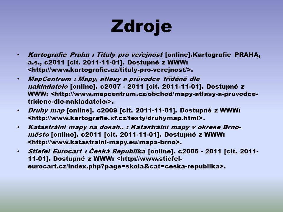 Zdroje Kartografie Praha : Tituly pro veřejnost [online].Kartografie PRAHA, a.s., c2011 [cit. 2011-11-01]. Dostupné z WWW:. MapCentrum : Mapy, atlasy