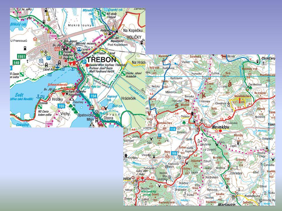 Cykloturistické mapy cyklotrasy, cyklostezky, kilometráže, nebezpečné úseky, servisy a půjčovny kol 1 : 60 000 – 1 : 75 000
