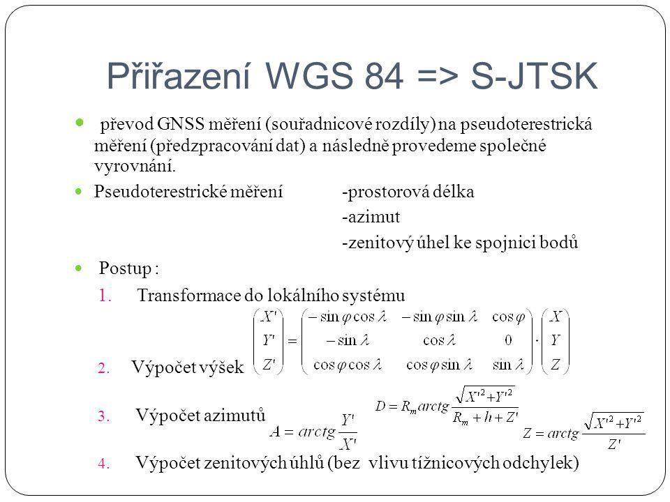Přiřazení S-JTSK => WGS 84 Použití klasické transformace S-JTSK [X, Y, HBpv/ort]=> Besselův elipsoid (geoexcentrický) [B, L, H] => elipsoid WGS 84 [X, Y, Z] => WGS 84 [X, Y, Z]