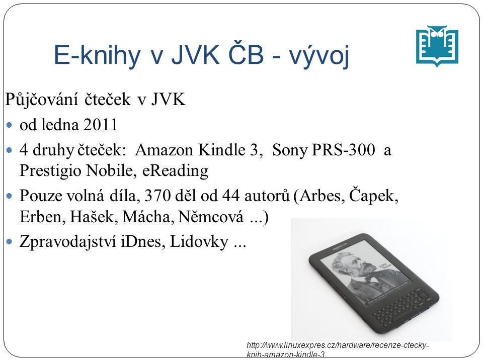 E-knihy v JVK ČB - vývoj Půjčování čteček v JVK od ledna 2011 4 druhy čteček: Amazon Kindle 3, Sony PRS-300 a Prestigio Nobile, eReading Pouze volná díla, 370 děl od 44 autorů (Arbes, Čapek, Erben, Hašek, Mácha, Němcová...) Zpravodajství iDnes, Lidovky...