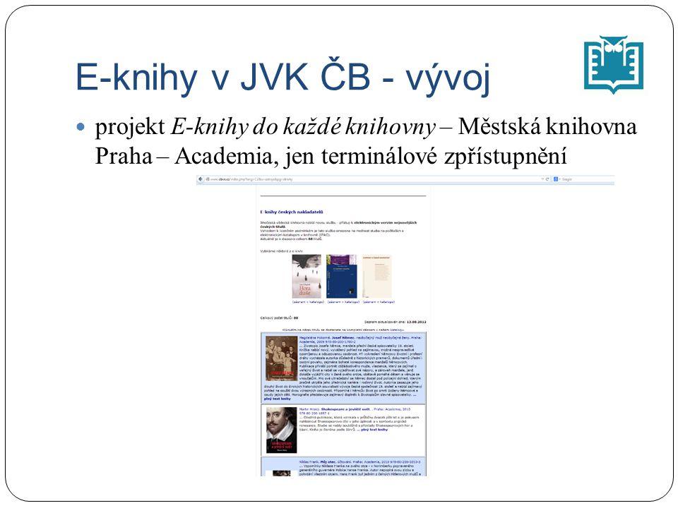E-knihy v JVK ČB - vývoj projekt E-knihy do každé knihovny – Městská knihovna Praha – Academia, jen terminálové zpřístupnění