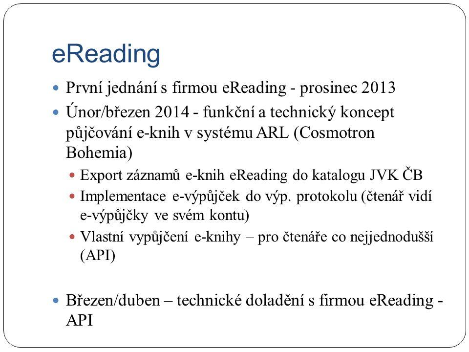 První jednání s firmou eReading - prosinec 2013 Únor/březen 2014 - funkční a technický koncept půjčování e-knih v systému ARL (Cosmotron Bohemia) Expo