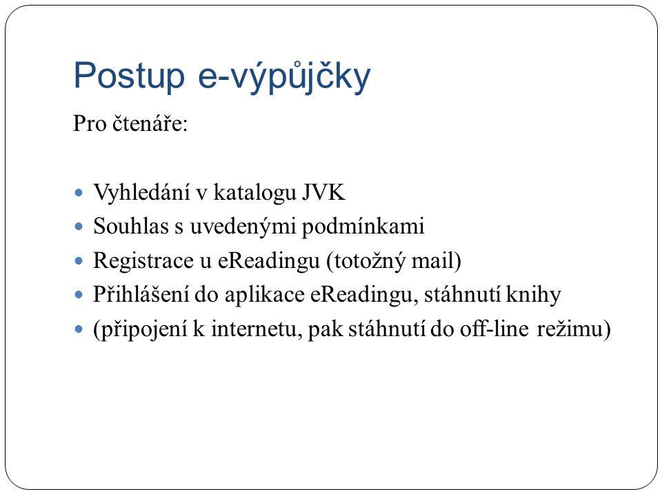Postup e-výpůjčky Pro čtenáře: Vyhledání v katalogu JVK Souhlas s uvedenými podmínkami Registrace u eReadingu (totožný mail) Přihlášení do aplikace eR