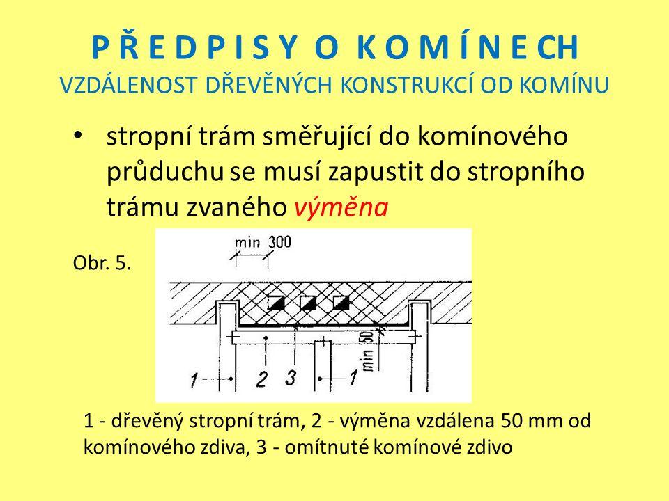 P Ř E D P I S Y O K O M Í N E CH VZDÁLENOST DŘEVĚNÝCH KONSTRUKCÍ OD KOMÍNU stropní trám směřující do komínového průduchu se musí zapustit do stropního trámu zvaného výměna Obr.