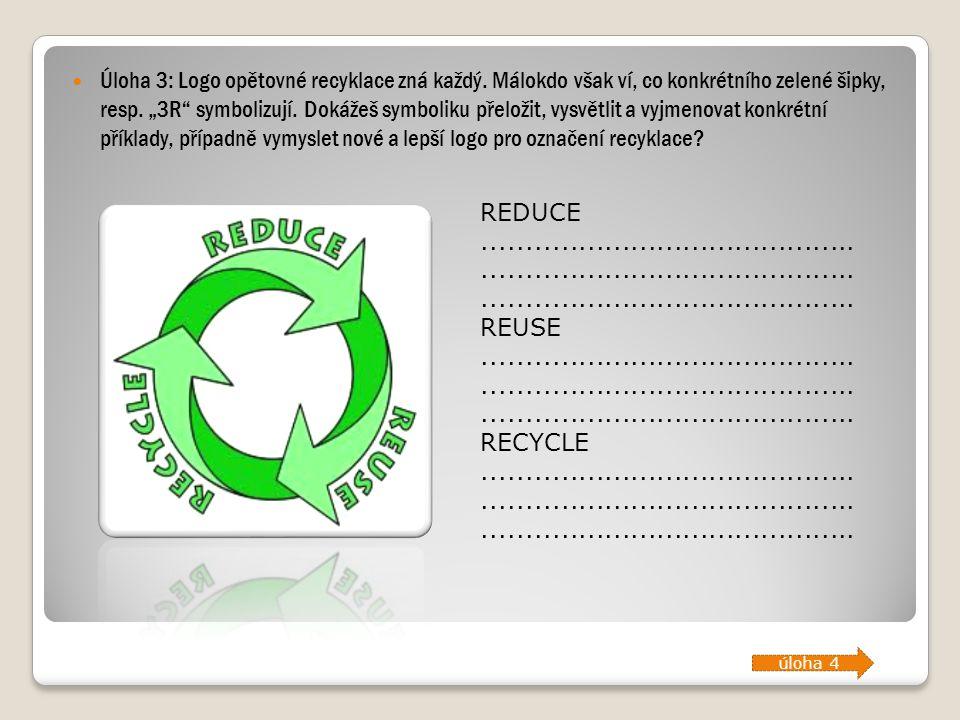 """Úloha 3: Logo opětovné recyklace zná každý. Málokdo však ví, co konkrétního zelené šipky, resp. """"3R"""" symbolizují. Dokážeš symboliku přeložit, vysvětli"""