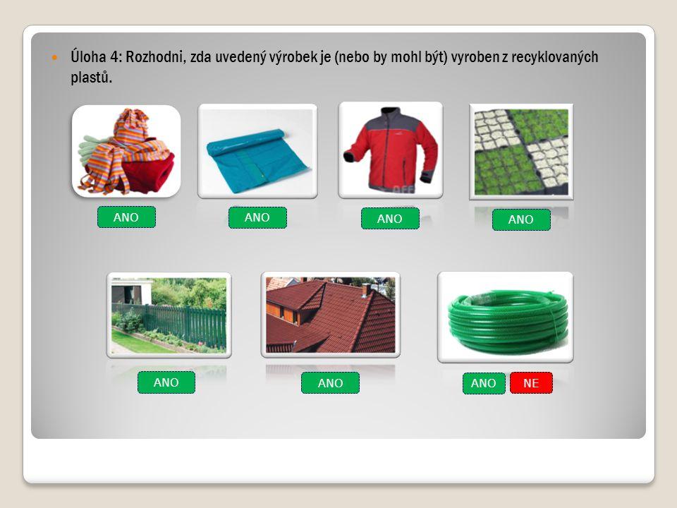 Úloha 4: Rozhodni, zda uvedený výrobek je (nebo by mohl být) vyroben z recyklovaných plastů. ANO NE