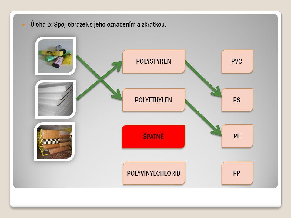 Úloha 5: Spoj obrázek s jeho označením a zkratkou. ŠPATNĚ POLYVINYLCHLORID PVC PS PE PP POLYETHYLEN POLYSTYREN