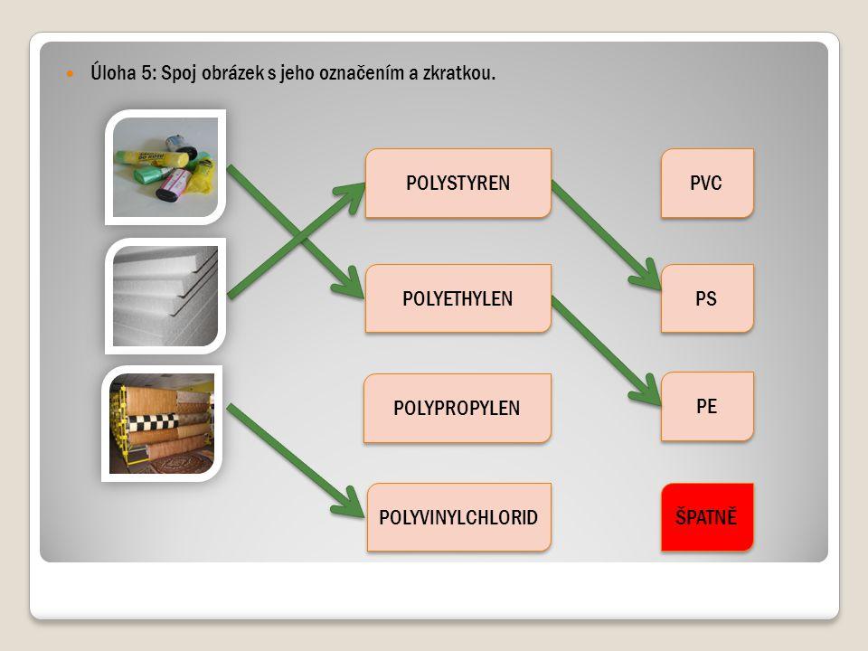 Úloha 5: Spoj obrázek s jeho označením a zkratkou. POLYPROPYLEN POLYVINYLCHLORID PVC PS PE ŠPATNĚ POLYETHYLEN POLYSTYREN