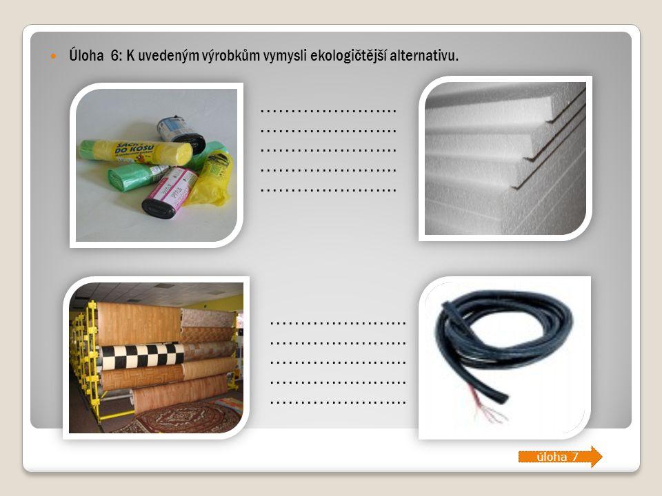 Úloha 6: K uvedeným výrobkům vymysli ekologičtější alternativu........................................................................................