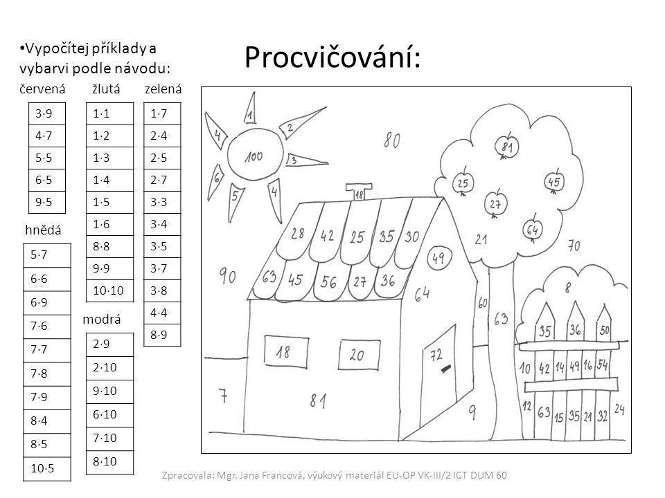 Procvičování: Zpracovala: Mgr. Jana Francová, výukový materiál EU-OP VK-III/2 ICT DUM 60 Vypočítej příklady a vybarvi podle návodu: červená žlutá zele