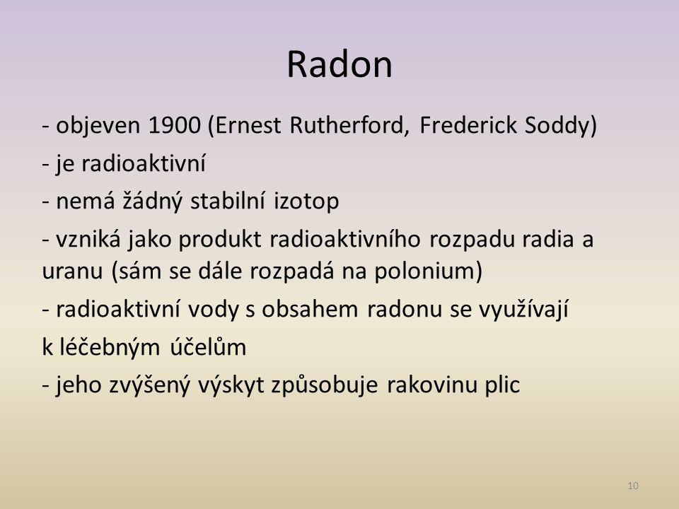 11 Helium - pouze helidy (sloučeniny se rtutí) Neon - sloučeniny nejsou známy Argon - sloučeniny nejsou známy Krypton - vzácně tvoří nestálé sloučeniny s fluorem a kyslíkem (velmi silná oxidační činidla) Xenon – sloučeniny s kyslíkem, fluorem a chlorem (velmi nestálé, mimořádně silná oxidační činidla až výbušné) Sloučeniny vzácných plynů