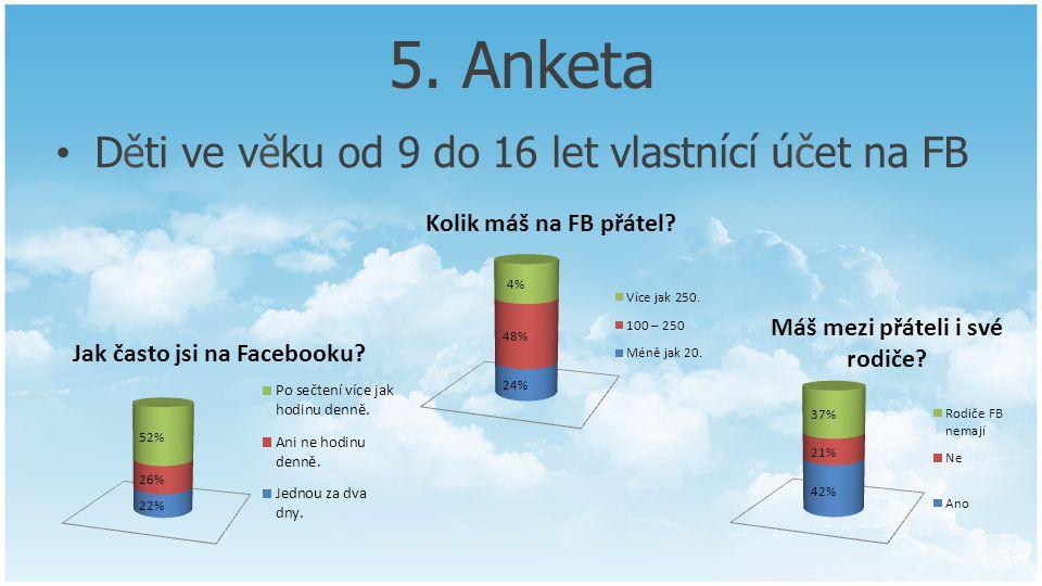 5. Anketa D ě ti ve v ě ku od 9 do 16 let vlastnící účet na FB