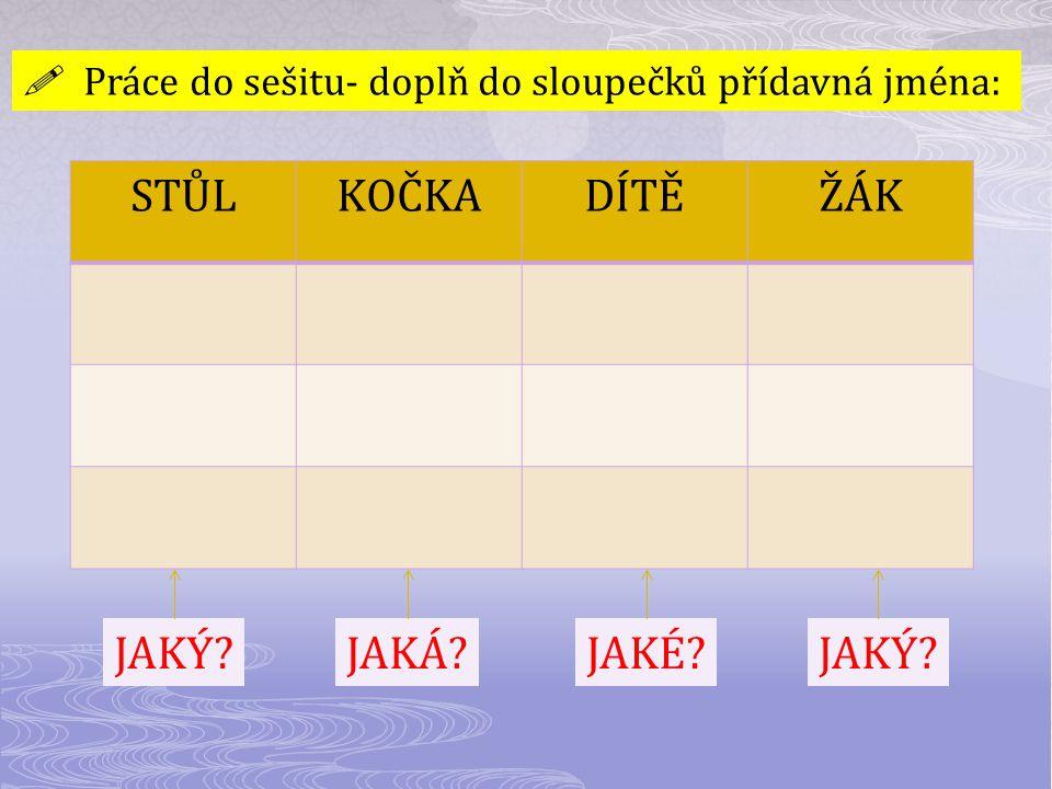  Práce do sešitu- doplň do sloupečků přídavná jména: STŮLKOČKADÍTĚŽÁK JAKÝ?JAKÁ?JAKÉ?JAKÝ?