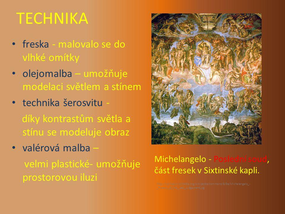 TECHNIKA freska - malovalo se do vlhké omítky olejomalba – umožňuje modelaci světlem a stínem technika šerosvitu - díky kontrastům světla a stínu se modeluje obraz valérová malba – velmi plastické- umožňuje prostorovou iluzi Michelangelo - Poslední soud, část fresek v Sixtinské kapli.