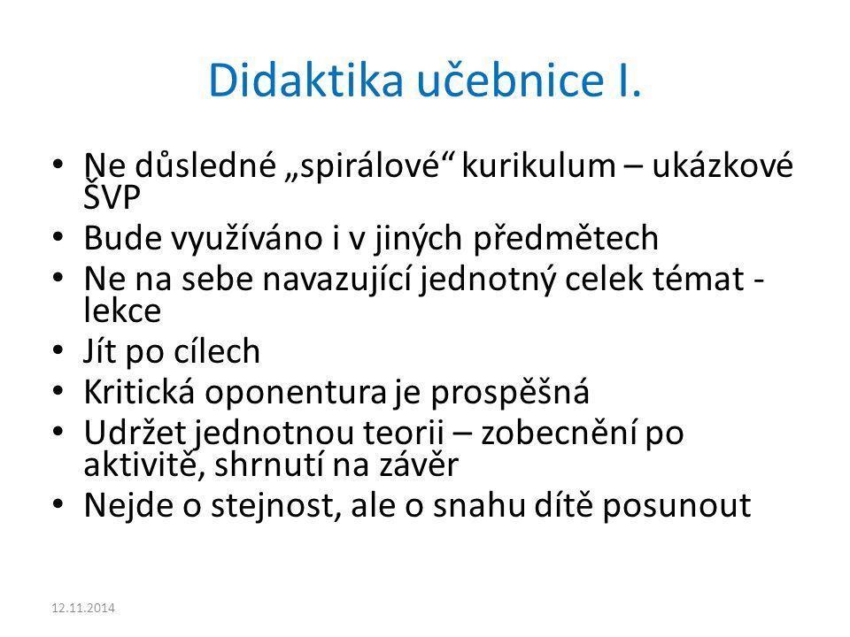 """Didaktika učebnice I. Ne důsledné """"spirálové"""" kurikulum – ukázkové ŠVP Bude využíváno i v jiných předmětech Ne na sebe navazující jednotný celek témat"""