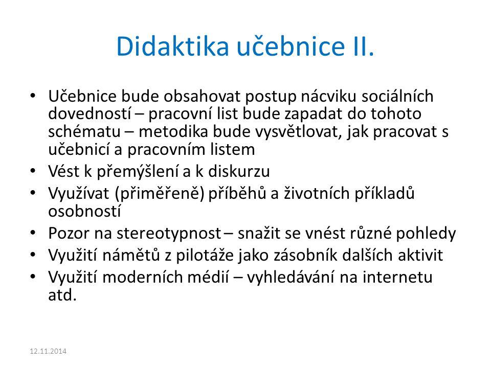 Didaktika učebnice II. Učebnice bude obsahovat postup nácviku sociálních dovedností – pracovní list bude zapadat do tohoto schématu – metodika bude vy