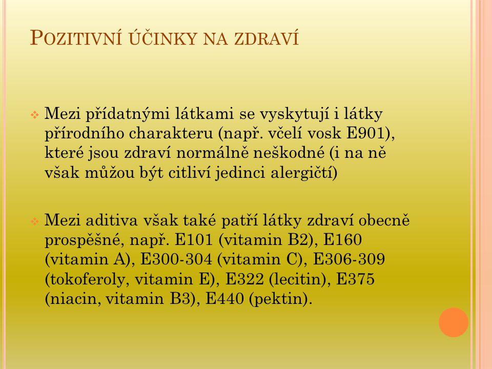 P OZITIVNÍ ÚČINKY NA ZDRAVÍ  Mezi přídatnými látkami se vyskytují i látky přírodního charakteru (např. včelí vosk E901), které jsou zdraví normálně n