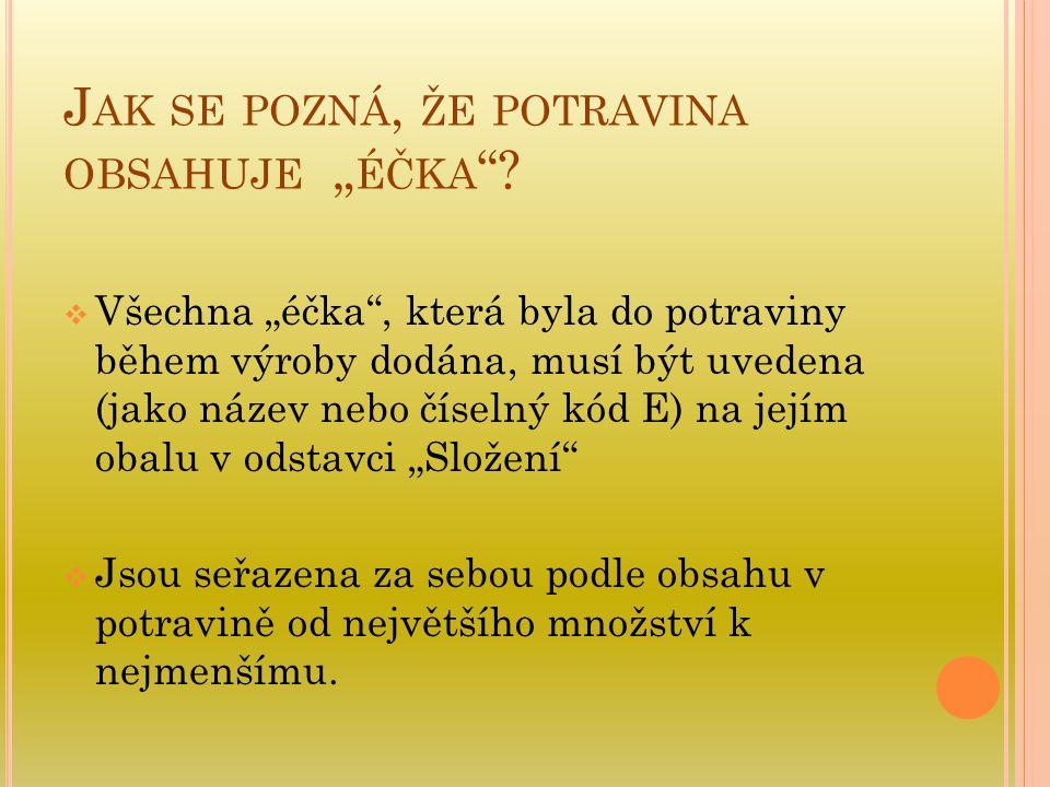 """J AK SE POZNÁ, ŽE POTRAVINA OBSAHUJE """" ÉČKA """"?  Všechna """"éčka"""", která byla do potraviny během výroby dodána, musí být uvedena (jako název nebo číseln"""
