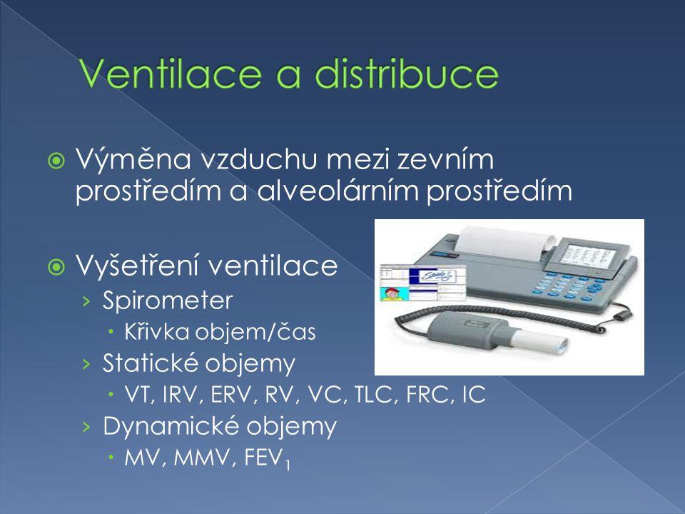  Výměna vzduchu mezi zevním prostředím a alveolárním prostředím  Vyšetření ventilace › Spirometer  Křivka objem/čas › Statické objemy  VT, IRV, ERV, RV, VC, TLC, FRC, IC › Dynamické objemy  MV, MMV, FEV 1