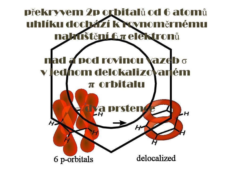 p ř ekryvem 2p orbital ů od 6 atom ů uhlíku dochází k rovnom ě rnému nahušt ě ní 6 π elektron ů nad a pod rovinou vazeb σ v jednom delokalizovaném π o