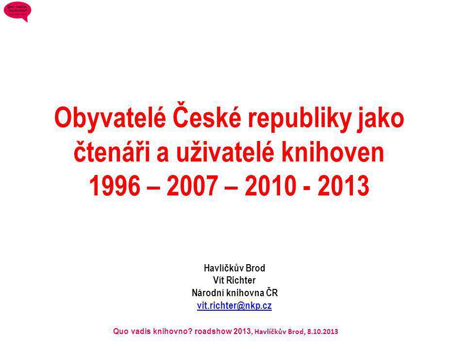 Quo vadis knihovno? roadshow 2013, Havlíčkův Brod, 8.10.2013 Obyvatelé České republiky jako čtenáři a uživatelé knihoven 1996 – 2007 – 2010 - 2013 Hav