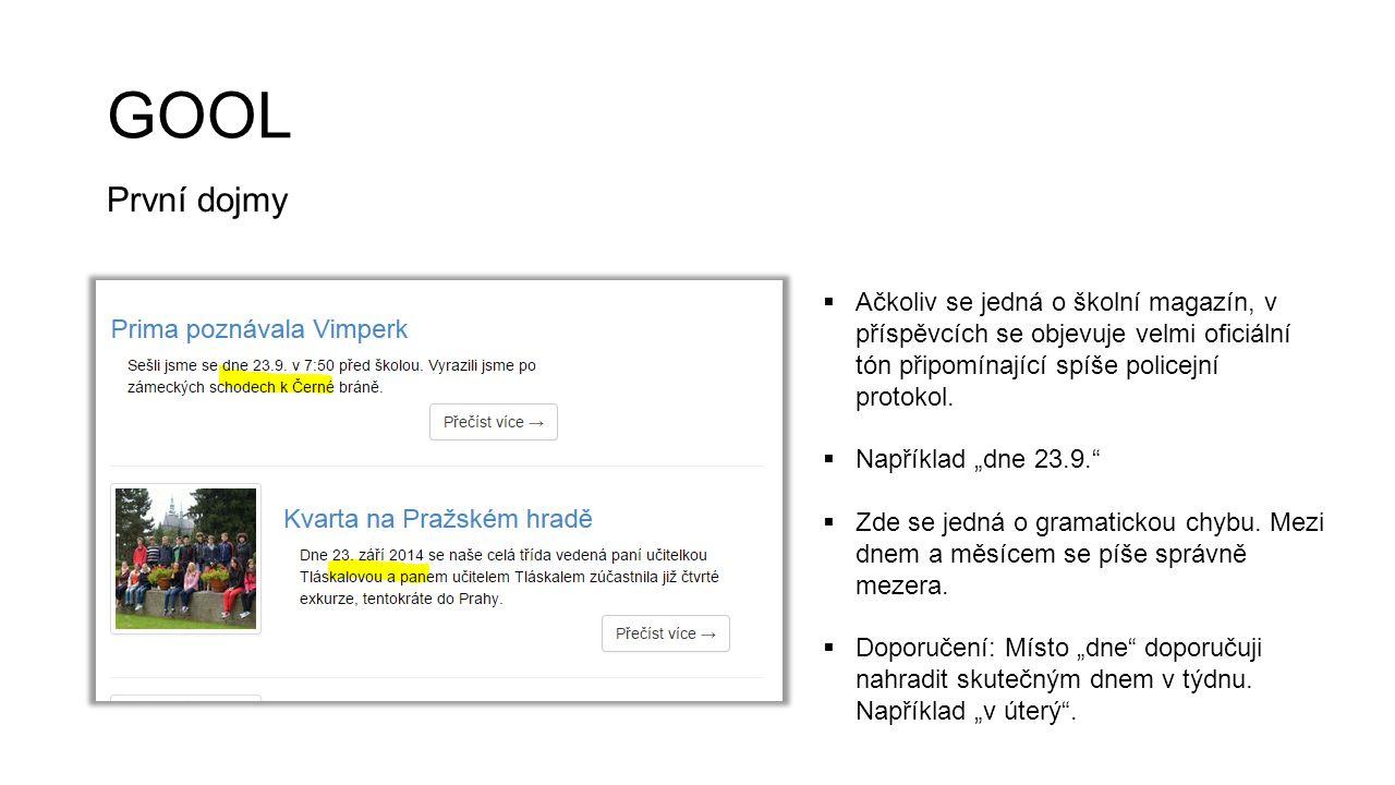 GYM Kladné stránky  Jasné autorství článků. Propojení se sociálními sítěmi.