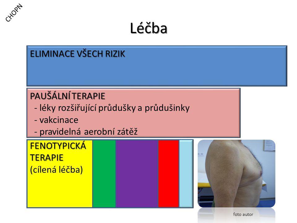 Léčba CHOPN ELIMINACE VŠECH RIZIK PAUŠÁLNÍ TERAPIE - léky rozšiřující průdušky a průdušinky - vakcinace - pravidelná aerobní zátěž FENOTYPICKÁTERAPIE