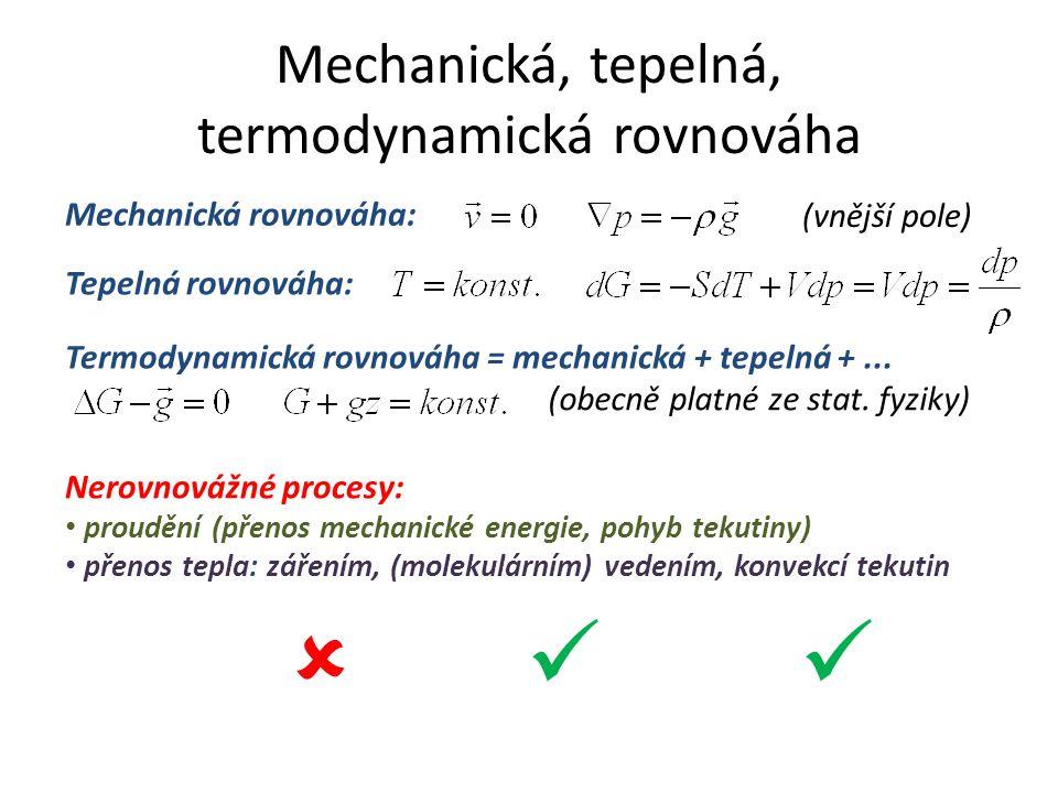 Mechanická, tepelná, termodynamická rovnováha Tepelná rovnováha: Mechanická rovnováha: (vnější pole) Termodynamická rovnováha = mechanická + tepelná +...