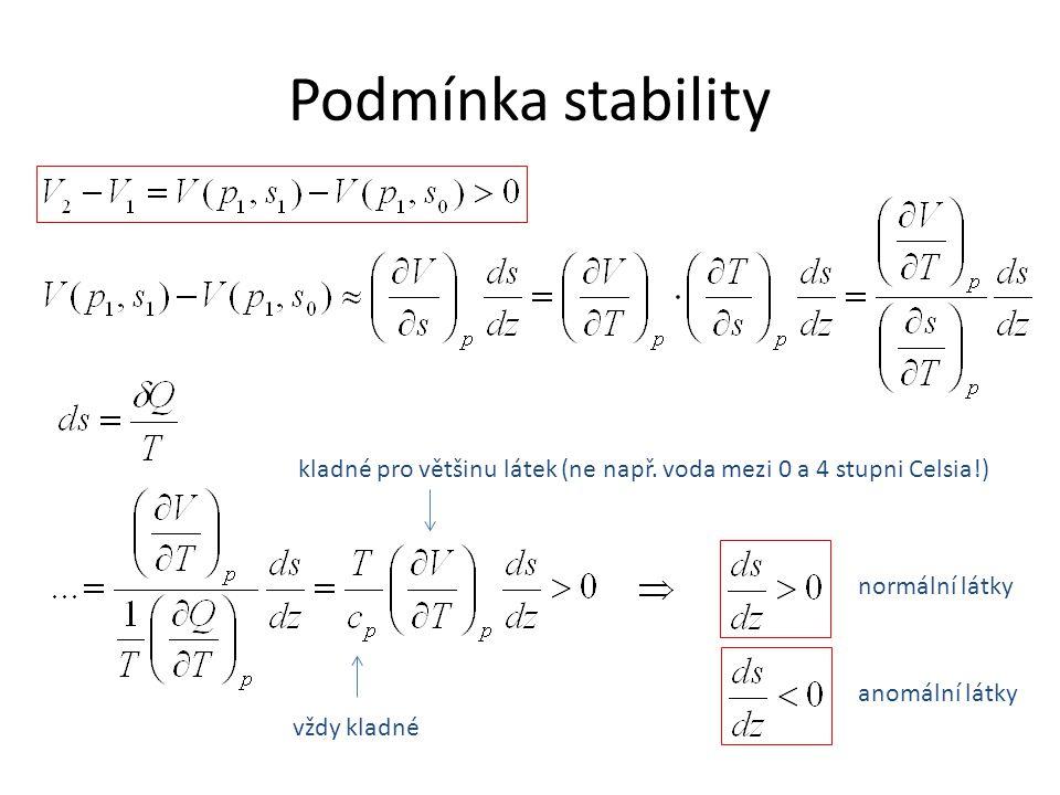 Podmínka stability vždy kladné kladné pro většinu látek (ne např.