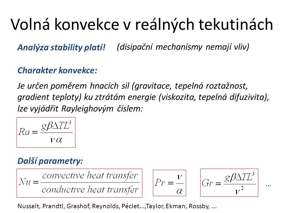 Volná konvekce v reálných tekutinách Analýza stability platí.