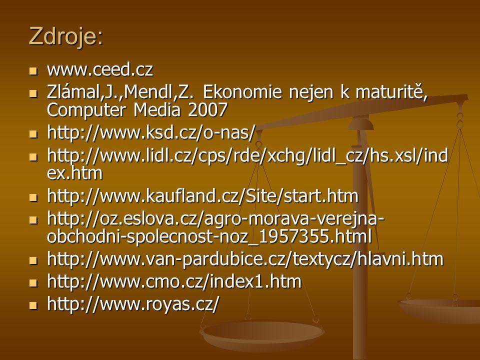 Zdroje: www.ceed.cz www.ceed.cz Zlámal,J.,Mendl,Z.