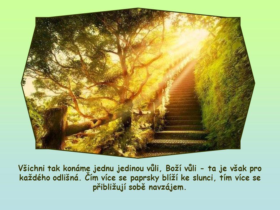 Mohli bychom si ji představit jako slunce, jehož paprsky znázorňují Boží vůli pro každého z nás.