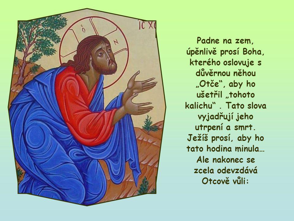 Ježíš je v olivové zahradě, na místě zvaném Getsemany.