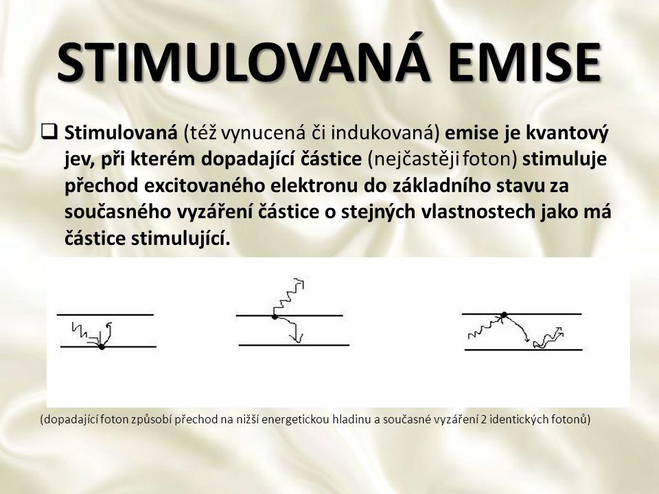 STIMULOVANÁ EMISE  Stimulovaná (též vynucená či indukovaná) emise je kvantový jev, při kterém dopadající částice (nejčastěji foton) stimuluje přechod