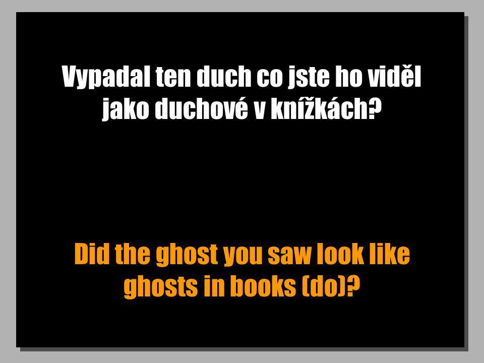 Vypadal ten duch co jste ho viděl jako duchové v knížkách? Did the ghost you saw look like ghosts in books (do)?