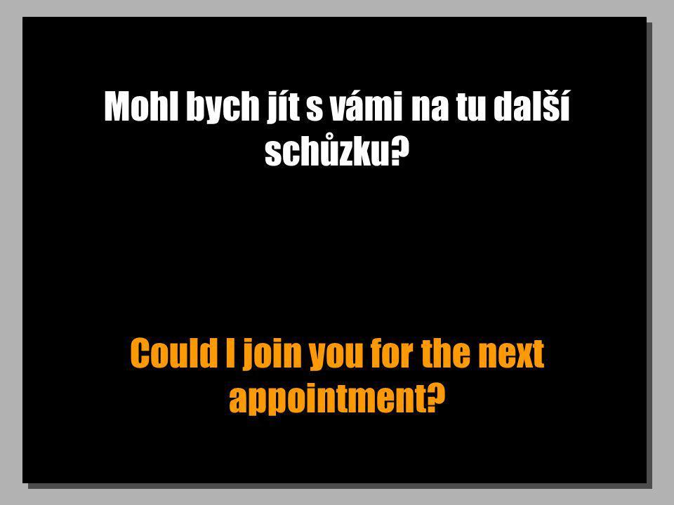 Mohl bych jít s vámi na tu další schůzku? Could I join you for the next appointment?