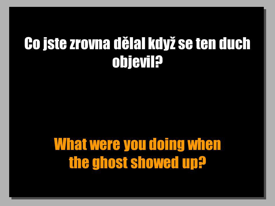 Co jste zrovna dělal když se ten duch objevil What were you doing when the ghost showed up
