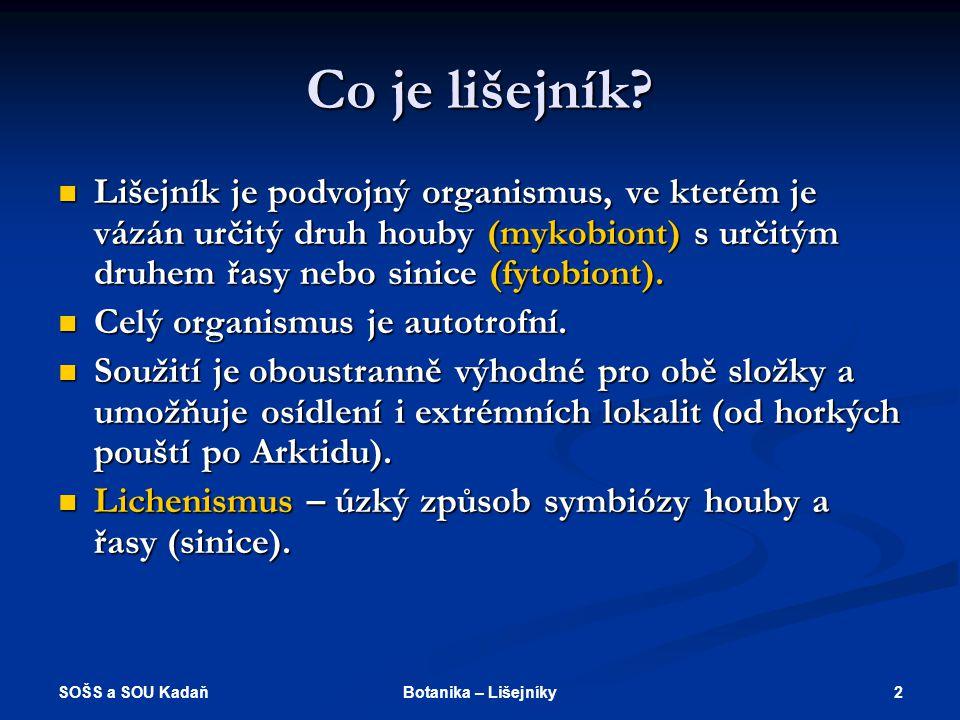 SOŠS a SOU Kadaň 2Botanika – Lišejníky Co je lišejník.