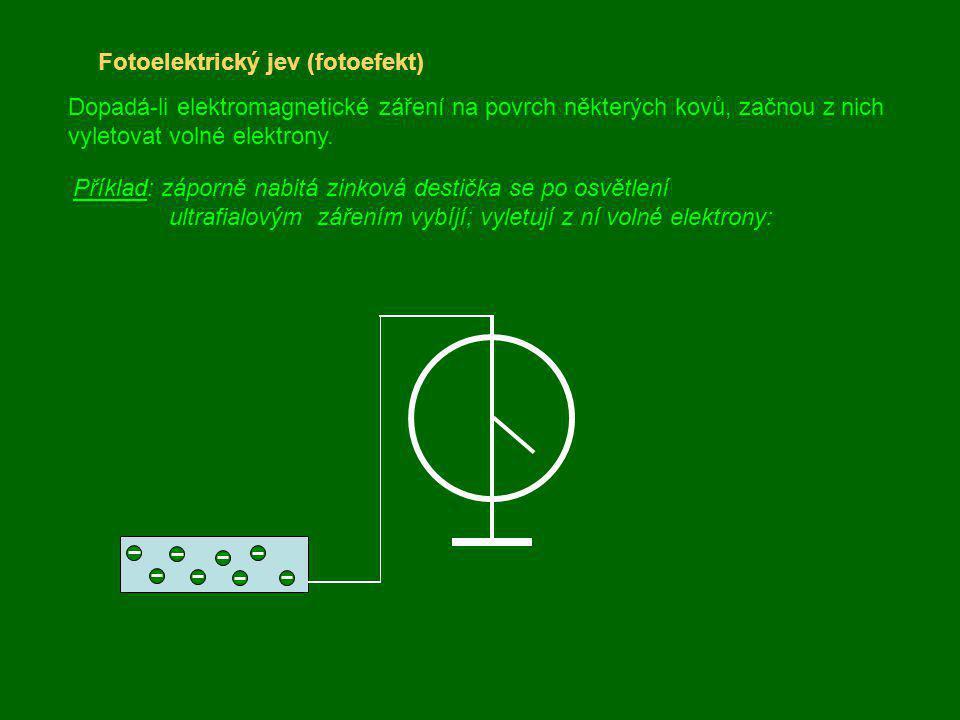 Fotoelektrický jev (fotoefekt) Dopadá-li elektromagnetické záření na povrch některých kovů, začnou z nich vyletovat volné elektrony. Příklad: záporně