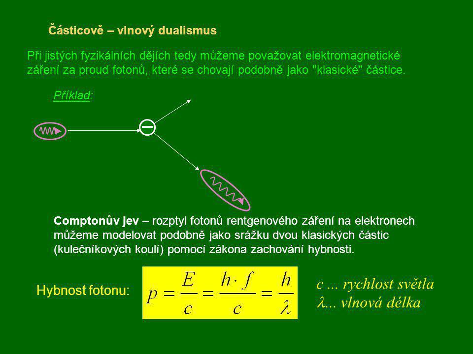 Částicově – vlnový dualismus Při jistých fyzikálních dějích tedy můžeme považovat elektromagnetické záření za proud fotonů, které se chovají podobně j