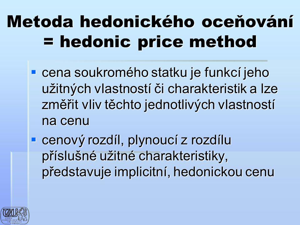 Metoda hedonického oceňování = hedonic price method  cena soukromého statku je funkcí jeho užitných vlastností či charakteristik a lze změřit vliv tě